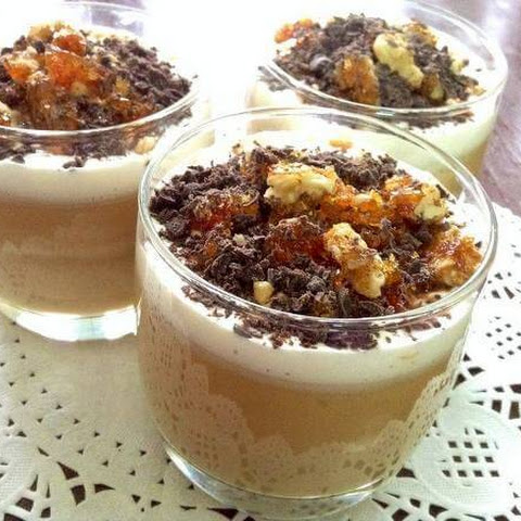 Toffee Custard With Walnut Praline