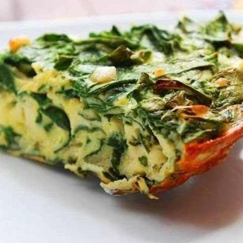 Spinach Frittata with bacon and Cheddar cheese