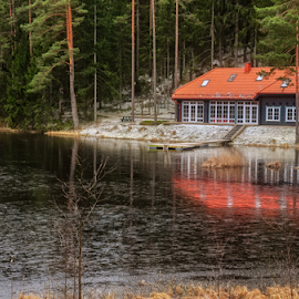 In the countryside by Irena Gedgaudiene - Buildings & Architecture Homes ( water, red roof, forest, lake, house, spring )