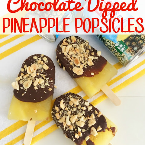 Chocolate Dipped Pineapple Popsicles