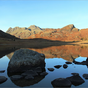 Blea Tarn Reflections by Carol Lauderdale - Landscapes Waterscapes ( lake district, still waters, blea tarn, reflections, langdale,  )