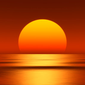 beautiful sunset by Markus Gann - Landscapes Sunsets & Sunrises ( round, yellow, beach, backdrop, open, over, sky, nature, dark, light, orange, dream, wallpaper, art, atmosphere, horizon, shape, magic, wave, hot, ripple, enchanted, view, big, natural, reflection, warm, ocean, circle, beauty, landscape, digital, sun, mystic, sunny, evening, water, beautiful, sea, red, color, sunset, background, sundown, summer, night, sunrise, down, design )