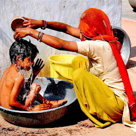 Bath in the Desert by Doug Hilson - People Street & Candids ( desert, rajasthan, mother&child, bath, india )