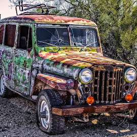 Four by Four by Dave Lipchen - Transportation Automobiles ( broken, car, old, truck, jeep, junk, weathered )