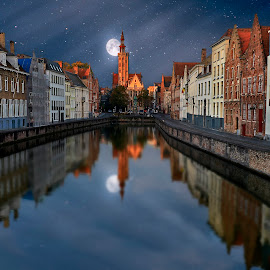 Bruges by night by Patrick Janson - City,  Street & Park  Night ( canals, reflection, moon, church, stars, long exposure, canal,  )