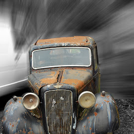 by Sarah Talbot - Transportation Automobiles ( car, old, black and white, blur, rusty )