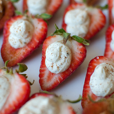 Deviled Strawberries with Spiced Mascarpone Cream
