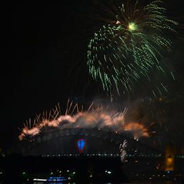 Start Of 2015 by Kamila Romanowska - Abstract Fire & Fireworks ( 2015, australia, nye, fireworks, celebration, sydney )