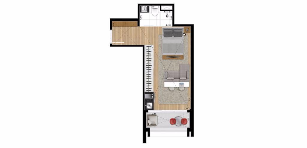 Planta Loft 36 m²