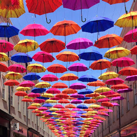 A roof colourfully formed with umbrellas  by Zay Htet - Instagram & Mobile iPhone