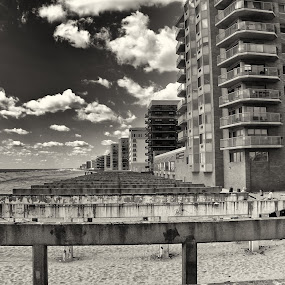 Walks To Come by Chris Mare - City,  Street & Park  Neighborhoods ( disaster, black and white, bw, aftermath, beach, landscape, hurricane )