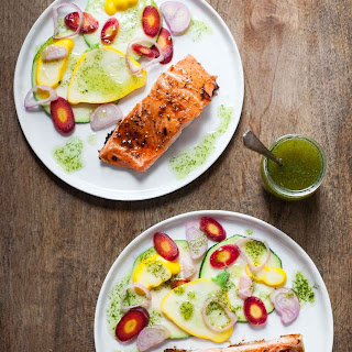 Caramelized Salmon with Basil Chile Oil and Pickled Vegetables