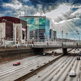 End of the Storm by Richard Michael Lingo - City,  Street & Park  Street Scenes ( storm, expressway, weather, cincinnati, landscape )