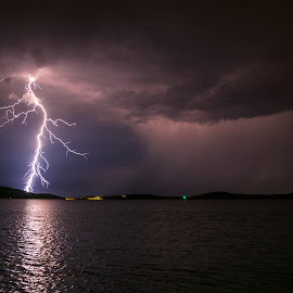 Intense lightning by Jernej Lipovec - Landscapes Weather ( exposure, thunder, adriatic, bolt, thunderstorm, waterscape, croatia, sea, landscape, storm, jadran, sony, lightning, mediterranean, šibenik, night, longexposure )
