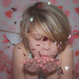 Confetti Face by Chris Cavallo - Babies & Children Child Portraits ( hearts, red, heart, maine, confetti, pink, valentine, saltandlightphotography )