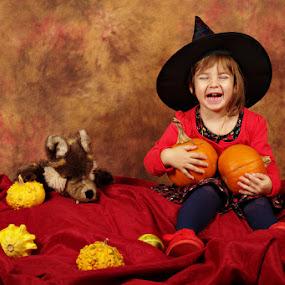 Little witch is having fun by Nicu Buculei - Babies & Children Child Portraits ( child, girl, witch, children, kids, halloween,  )