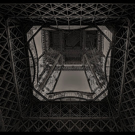 Eiffel by Gene Myers - Buildings & Architecture Architectural Detail ( shotsbygene, paris, eiffel tower, structure, black and white, gene myers )