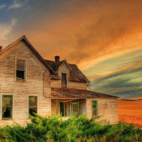 Abandoned Farm House by Eric Demattos - Buildings & Architecture Homes ( wheat, sun set, farm house )