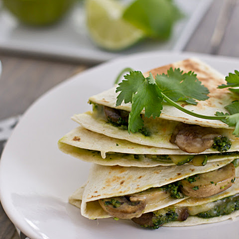 Mushroom & Zucchini Quesadillas with Cilantro Pesto