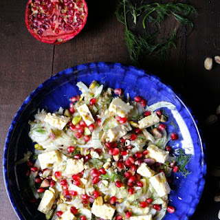 Shaved Fennel Salad with Feta Pomegranate Pistachios and Sesame Lemon Dressing