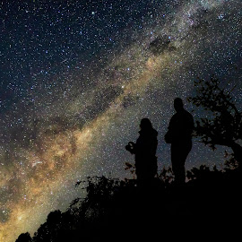 Stargazing by Susan Marshall - Landscapes Starscapes ( milkyway, stars, silhouette, landscape, nightscape )
