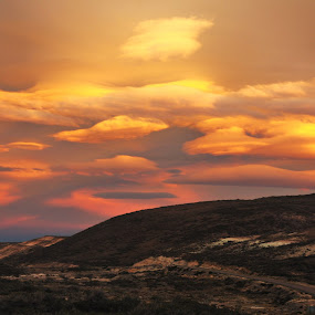 Sunset in Patagonia by My 1st Impressions - Landscapes Mountains & Hills ( argentina, clouds, sky, patagonia, sunset, road, dusk )