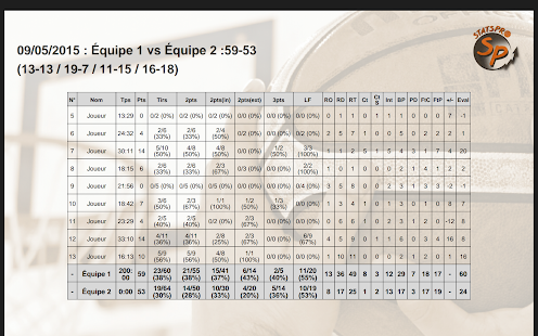 Stats Pro Basket - screenshot