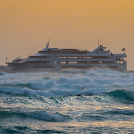 Rough Seas by Kathy Suttles - Transportation Boats ( suttleimpressions, rough seas, star of honolulu, hawaii, sunset cruise )