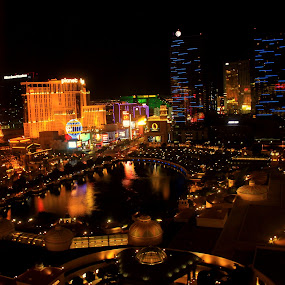Vegas at night by Svetlana Joshi - Travel Locations Landmarks ( lights, reflection, colorful, night, vegas )