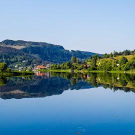 Kalandsvatnet by Espen Rune Grimseid - Landscapes Waterscapes ( kalandsvatnet, reflections, waterscape, nature, norway, hills, lake, bergen, landscape, canon )
