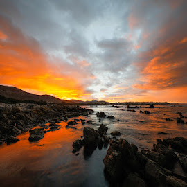 Liquid Fire by Gideon Malherbe - Landscapes Sunsets & Sunrises