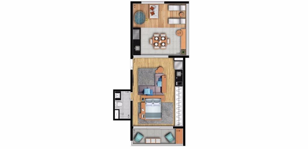 Planta Uphouse de 56 m²