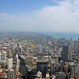 Chicago by Dawn Hoehn Hagler - City,  Street & Park  Skylines ( willis tower, skyline, lake michigan, chicago, landscape,  )