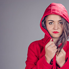 red riding hood by Gerrit de Graaff - People Portraits of Women ( nikonshooter, girl, red, beautiful, photographer, nikon d, beauty, brunette, nikon, photography, photoshop, eyes )