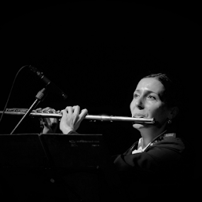 Block-flute player by Luka Mitrović - People Portraits of Women ( block-floute player, music, woman, concert, portrait,  )
