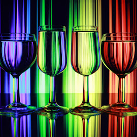 Colourful lines in glasses by Peter Salmon - Artistic Objects Other Objects