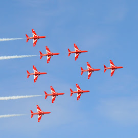 Red Arrows by Brian Pierce - Transportation Airplanes ( red arrows, sky, falmouth, airplane, display )