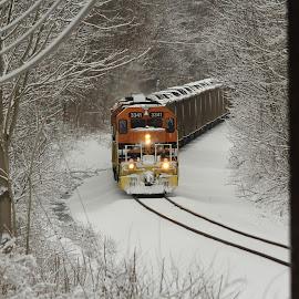 snowy days by Jackie McCorkle Tepe - Transportation Trains