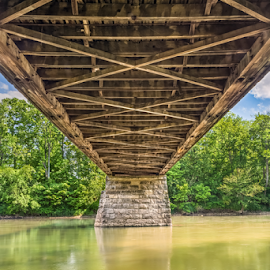 Beneath Potter's Covered Bridge by Kenneth Keifer - Buildings & Architecture Bridges & Suspended Structures ( indiana, reflection, old, wood, hamilton county, white river, potter's covered bridge, landscape, noblesville, historic, nature, below, pier, potters covered bridge, construction, underneath, underbelly, covered, beneath, water, vintage, midwest, under, old-fashioned, underside, rural, roadway, wooden, covered bridge, potter's bridge, trees, potters bridge, bridge, river )