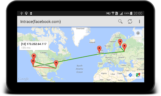 Intrace: Visual traceroute- screenshot thumbnail