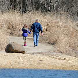 Father and Daughter by Barbara Langfeld - People Family ( father and daughter, family, trail, daughter, walk, people, preserve, father )