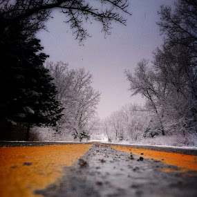 Where did you go.... by Christopher Gray - Instagram & Mobile iPhone ( double yellow line, spring storm, tree, snow, road, spring,  )