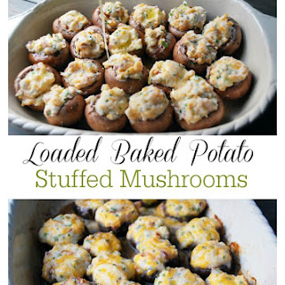 Loaded Baked Potato Stuffed Mushrooms #SundaySupper