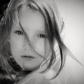 Windy Hair in a Veil B&W by Cheryl Korotky - Black & White Portraits & People