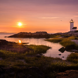 Rockport Lighthouse by Mike DeMicco - Landscapes Waterscapes ( calm, water, clouds, reflection, sailing boat, lighthouse, landscape, boat, sailboat, sunset, summer, rockport, rockportmass )