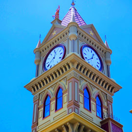 Time will tell. by Nita Andrews - Buildings & Architecture Public & Historical ( time, building, tower, sky, red, arch, blue, clock, court house, windows, architecture, courthouse, historic )
