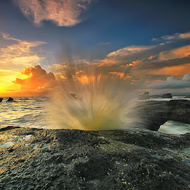 Comning Up by Agoes Antara - Landscapes Waterscapes ( beach.bali.sea.waterscape.stone.wave.rock.sunset )
