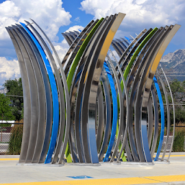 Curved Sculpture by Tony Huffaker - Artistic Objects Other Objects ( modern, sculpture, trax, station, metal, curved )
