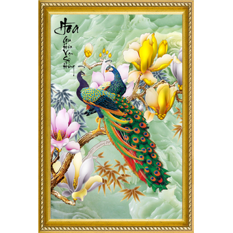 Tranh in canvas phong thủy chim công VTC CV0022 50 x 100 cm