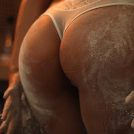 by ObjeKtiva Artphoto - Nudes & Boudoir Boudoir ( boudoir photography, sexy, lowlight, concept, thong, flour, details, boudoir, bodyscape, beauty, kitchen, mess, sensual )